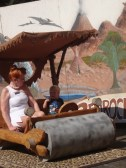 Posing in the Flintstone Mobile at the Rice Museum of Rocks and Minerals (2)